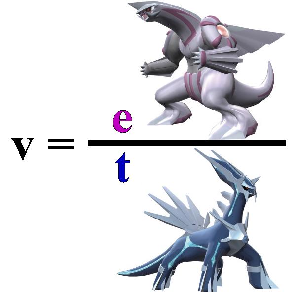 Imagen donde aparece la v igual a una fracción Palkia partido por Dialga
