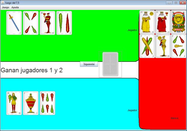 Imagen de captura de pantalla, donde se ve una partida de dos jugadores que ganan empatados contra la banca.