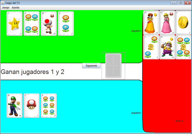 Otra imagen de captura de pantalla, donde se ve otra partida de dos jugadores que ganan contra la banca.