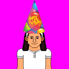 Esto es una imagen donde se ve a Alba García Clérigues con gorro de cumpleaños.