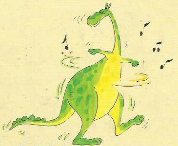 Esto es una imagen que muestra al dragón Canelón bailando entre notas musicales.