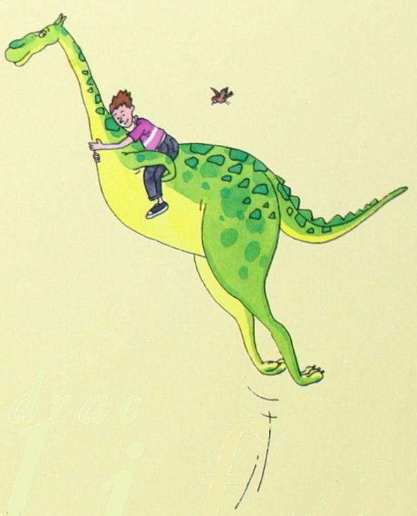 Esto es una imagen que muestra al dragón Canelón saltando con una persona joven montada en su espalda.