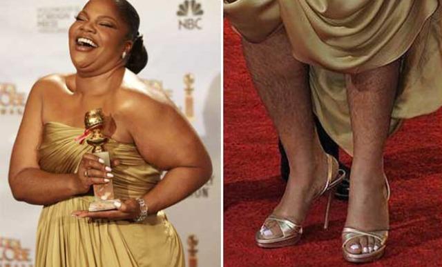 Esto es una imagen que tiene dos fotografías, en la foto izquierda se ve un plano medio de Mo'nique y en la foto derecha se ven sus piernas peludas.