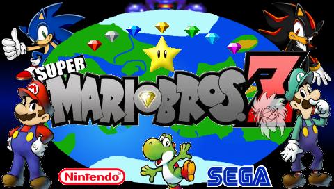 Esto es una imagen del logotipo Super Mario Bros Z, con los personajes: Mario, Luigi, Shadow, Sonic, Yoshi