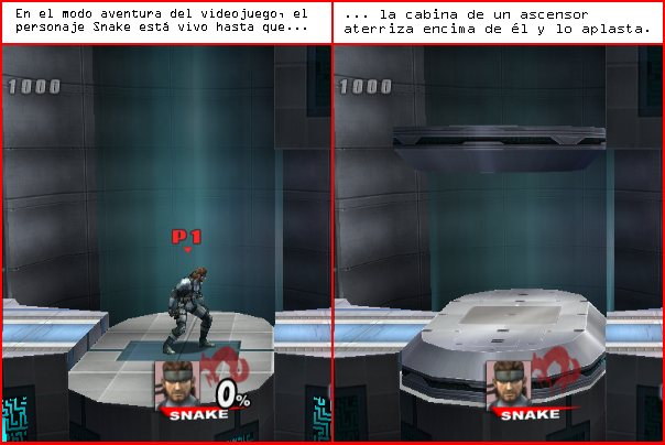 Esto es una imagen de dos viñetas. En la primera, se ve al personaje Snake y está vivo. En la segunda, se ve la cabina de un ascensor que aplasta a Snake.