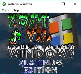 Esto es una imagen de captura de pantalla, mostrando la pantalla de título del videojuego, con el personaje Yoshi verde.