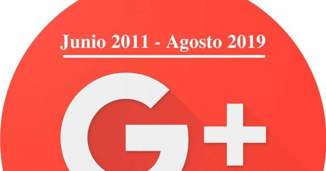 Imagen del cierre de Google+, indicando el año de apertura y el año de cierre.