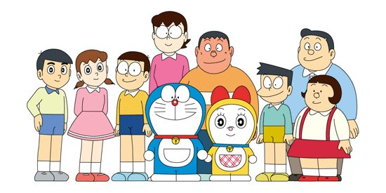 Esto es una imagen que muestra a los personajes: Dekigusu, Dorami, Doraemon, Jaiko, Nobisuke (padre de Nobita), Nobita, Shizuka, Suneo, Takeshi (Gigante), Tamako (madre de Nobita).
