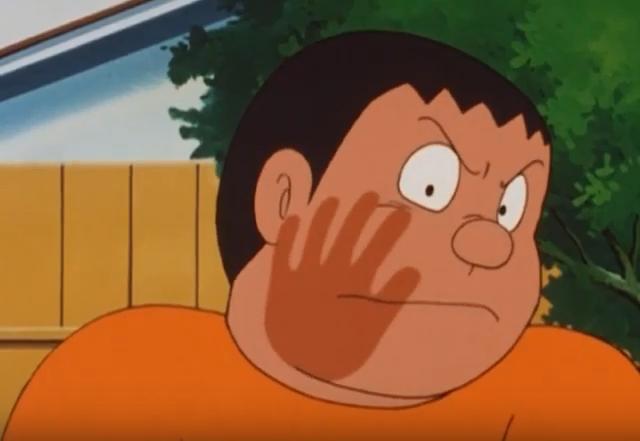 Esto es una imagen que muestra la cara de Takeshi enfadado con una bofetada marcada en su mejilla derecha.