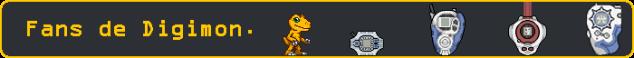 Esto es una imagen con el texto: Fans de Digimon.